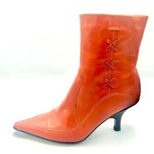 Allen Cooper Red Leather Point Toe Boots 38 U.S. 7